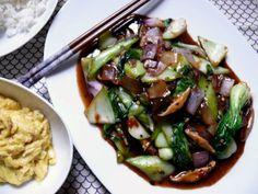 black bean sauced, baby bok choy stir-fry
