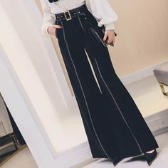 Cheap Pants & Capris, Buy Directly from China Suppliers:[MENKAY] 2018 Spring New Black White Contrast Looose Wide Leg Pants High Waist Belted Trousers Women Belted Shorts, Trousers Women, Fashion Pants, Wide Leg Pants, High Waisted Skirt, Vintage Outfits, Street Style, Clothes For Women, Casual