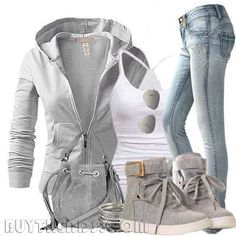Luvin this chill mode outfit to cute! Mode Outfits, Casual Outfits, Fashion Outfits, Fashion Trends, Fashion Ideas, Gray Outfits, Fashion Styles, Casual Wear, Fashion Moda