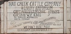 "Hat Creek Cattle Co. "" WE DON'T RENT PIG!"""