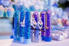 Tubetes Elsa Anna e Olaf Personalizados da Festa Frozem Decor Sueli Coelho