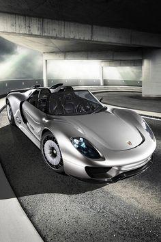 Silver Car Porsche 918 Spyder