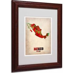 Trademark Fine Art Mexico Watercolor Map Matted Framed Art by Naxart, Wood Frame, Size: 11 x 14, Multicolor