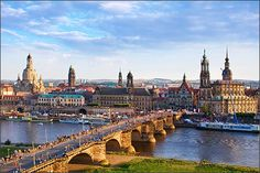 Dresden City in Germany; Completed in 1743 and rebuilt after WWII, the baroque church Frauenkirche is famed for its grand dome.  Shawn Frank