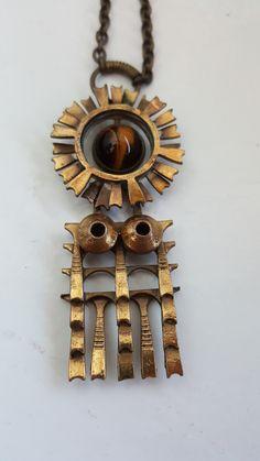 Finnish Kalevala Koru Bronze Pendant Pentti Sarpaneva design with a Tiger eye Bronze Pendant, Pendant Design, Marimekko, Byzantine, Necklace Lengths, Silver Jewelry, Sculpture, Eye, Silver Jewellery
