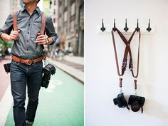 "MoneyMaker Multi-Camera Harness The regular chestnut MoneyMaker Multi-Camera Harness from HoldFast is a high-grade leather harness designed to hold two cameras near your hips. The harness is put on backpack style and worn with the straps laying in an ""X"" pattern across your back for added support.  #photogear #photography @T L @Carol Sera @Emily Lowes @Christy Harness"