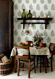 Illustrated botanical wallpaper contrasts with dark wood furniture Dark Wood Furniture, Decor, House Interior, Home, Interior, Ivy House, Dark Dining Room, Rustic Decor, Home Decor