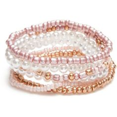 Red Camel Pink Precious Pastels 6-Piece Pearl Stretch Bracelet Set ($11) ❤ liked on Polyvore featuring jewelry, bracelets, pink, pearl jewelry, pink bangles, stacked bracelet set, stretch jewelry and pearl jewellery