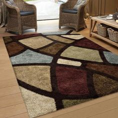 Colorful Blue Beige And Brown Area Rug