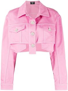 Pink Denim Jacket, Cropped Denim Jacket, Pink Jeans, Pink Leather Jackets, Classy Work Outfits, Girly Outfits, Cute Outfits, Balmain, Modest Fashion