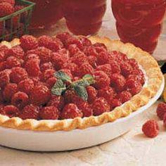This is my favorite fresh raspberry pie. So yummy for summer! -Glazed Raspberry Pie Recipe