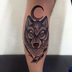 Best Leg Tattoos For Men: Cool Leg Tattoo Ideas, Badass Thigh, Calf, Ankle, Shin Tattoo Designs For Guys Back Of Leg Tattoos, Best Leg Tattoos, Head Tattoos, Wolf Tattoos, Back Tattoo, Body Art Tattoos, Girl Tattoos, Small Tattoos, Tattoo Art