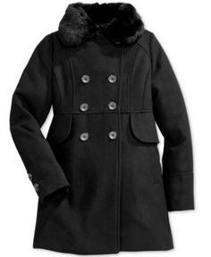 Jessica Simpson Girls' Double-Breasted Coat with Faux-Fur Collar | macys.com
