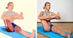 18 Illustrations qui montrent clairement quels muscles tu es en train d'étirer Yoga Fitness, Wellness Fitness, Muscle Stretches, Stretching Exercises, Sport Treiben, Back Muscles, Excercise, Yoga Poses, Gym Workouts