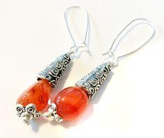 Carnelian Earrings,Orange Gemstone Earrings,Silver earrings,Orange Dangle Earrings,Tibetan Silver hook earrings by Taneesi by taneesijewelry on Etsy