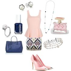 A pink peplum tank with an aztec print mini skirt, a blue tote, pink pumps with gold toe caps, a long, beaded necklace, pearl jewelry, blue nail polish