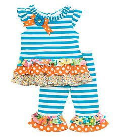 Rare Editions Infant Striped/Mixed-Media Top & Leggings Set | Dillard's Mobile$30