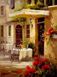 cafe, red window panes and red flowers