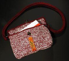 Handbag, Shoulder Bag, Tote Bag, Crochet Bag, Hand Tooled Leather Trim, Crochet…
