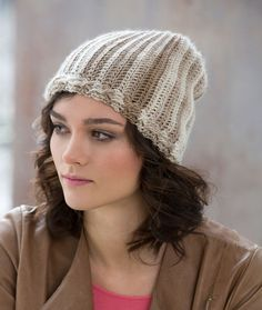 Cable & Rib Slouchy Hat Free Crochet Pattern in Red Heart Yarns