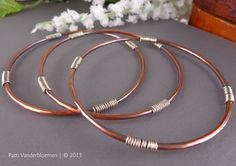 Set of 3 Mixed Metal Copper and Sterling Silver Stacking Bangles | Handcrafted Jewelry by Patti Vanderbloemen