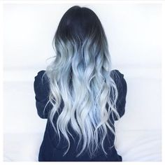 light blue hair color silver | dark root | pastel | ombre | curly | long hairstyle | dye