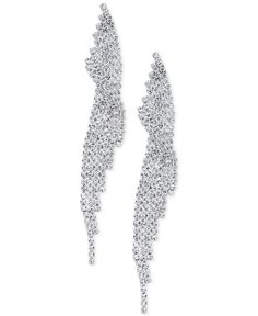 Say Yes to the Prom Silver-Tone Pave Swirl Drop Earrings, a Macy's Exclusive Style