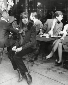 """sartreuse: """"Françoise Hardy candidly snapped perched on a stool in cool-weather textiles, 1965. """""""