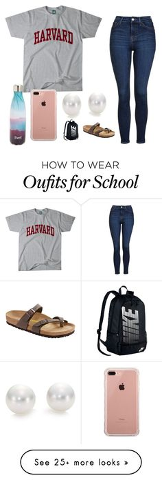 """""""school"""" by gracemartin-ii on Polyvore featuring Topshop, S'well, Belkin, Mikimoto, NIKE and Birkenstock"""