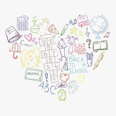 hand drawn doodle colorful school icons arranged in heart shape vector art illustration