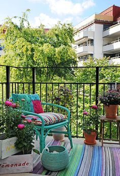Stylish apartment renovation in Sweden Small Balcony Design, Tiny Balcony, Balcony Garden, Balcony Ideas, Garden Pond, Outdoor Retreat, Outdoor Spaces, Outdoor Living, Outdoor Decor