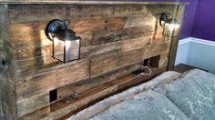 headboard with glasses. Diy Wooden Headboard With Lights Coach Lights, Diy Headboards, Rustic Diy, Wood Pallets, Headboard With Shelves, Headboard Storage, Wood Diy, Diy Headboard Wooden, Wooden Diy