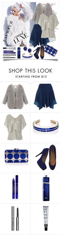 """fab faux fur"" by art-gives-me-life ❤ liked on Polyvore featuring Pamela Love, Manolo Blahnik, Pour La Victoire, By Terry, Christian Dior, Burberry, Bling Jewelry, contestentry and fauxfurcoats"