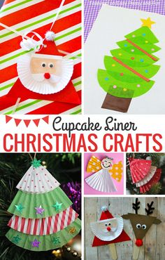 Cupcake Liner Christmas Crafts for Kids