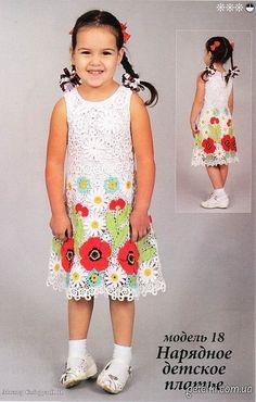 Delicadezas en crochet Gabriela: Vestido de ganchillo niña . Descripción, esquema, patrón de encaje irlandés