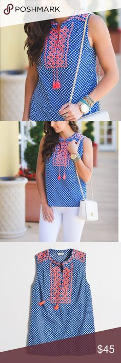 J.Crew Printed embroidered tank top Super cute & you can wear it with white pants and flat sandals and the colors of the top are striking! it will definitely wear this a lot this summer. Super easy, no zippers or buttons to deal with. NWT J. Crew Factory Tops Blouses