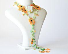 Crocheted Necklace, Boho Beaded Lariat, Oya Necklace, Orange Flower Necklace, Turkish Necklace, Crochet Jewelry, Christmas Gift, ReddApple