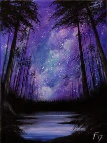 Moonlit sky in purple with black tree silhouettes. Acrylic Painting Beginners.