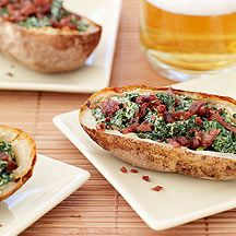 Baked Potato Skins with Creamy Spinach and Turkey Bacon: Creamy spinach and salty bacon makes these potatoes a hit. Make a double batch for your next party.