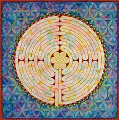 Mandala is mixed media (water color, acrylic and colored ink) on water color paper. The original image measures 22 inches square and was created to eventually become a finger labyrinth.