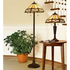 Stained Glass Gold & Ruby Floor Lamp   Lamps   Plow & Hearth