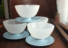 Vintage Tupperware Ice Cream Dishes set of four with lids! by KingsCache, $7.50