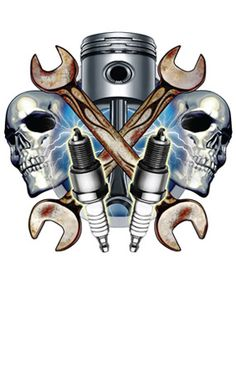 Wrenches Skulls and Spark Plugs Wall Sticker | Garage Wall Decals ...
