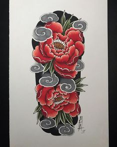 Background and waves done. Japanese Flower Tattoo, Japanese Dragon Tattoos, Japanese Tattoo Designs, Japanese Flowers, Tattoo Designs Men, Full Hand Tattoo, Full Arm Tattoos, Flor Oriental Tattoo, Mangas Tattoo