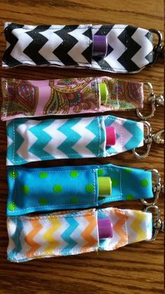 Sewing Gifts For Kids Chapstick Holder Key Chain Lip Balm Chap Stick Caddy Paisley Poka Dot Chevron Choices by BackWoodsArtQuilts on Etsy Diy Sewing Projects, Sewing Projects For Beginners, Sewing Hacks, Sewing Tutorials, Sewing Crafts, Sewing Patterns, Sewing Tips, Scrap Fabric Projects, Crafts With Fabric
