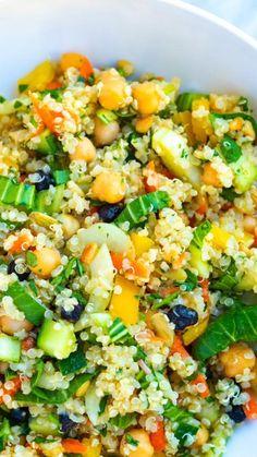 Quinoa Recipes Easy, Healthy Salad Recipes, Vegetable Recipes, Diet Recipes, Vegetarian Recipes, Cooking Recipes, Couscous Recipes, Quinoa Salat, Greek Quinoa Salad