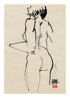 Nude, Pieter Hogenbirk, ruler pen, inkt