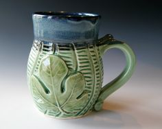Pottery Coffee Mug Fig Leaf Handmade Pottery by riverstonepottery, $30.00
