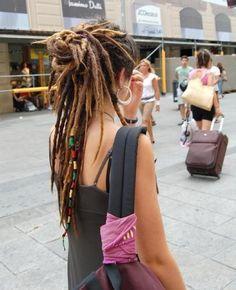 Long Dreadlocks, half updo for dreads