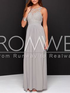 love the top of this dress and that its long -T Grey Sleeveless Crochet Lace Maxi Dress 24.99